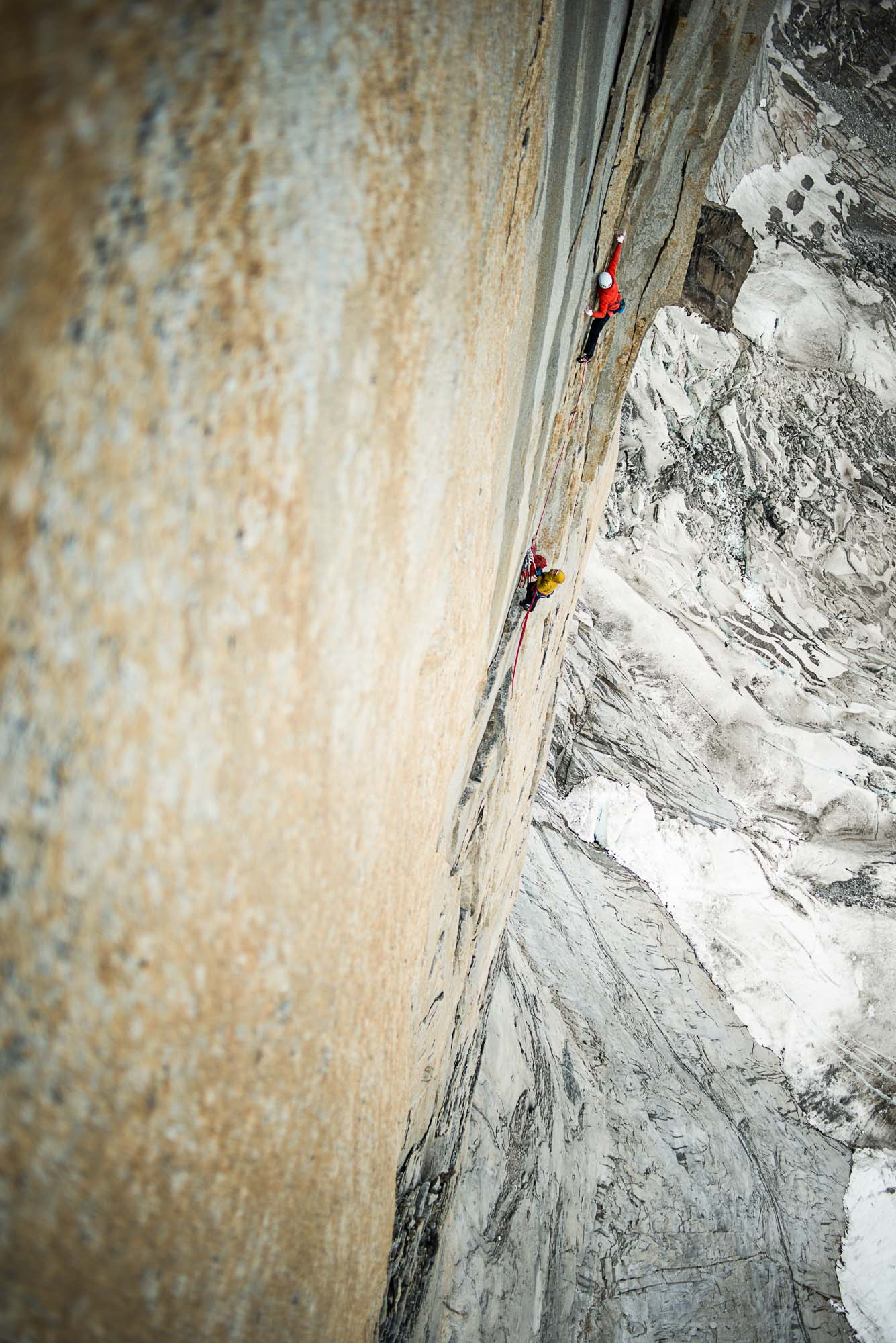 Ines Papert climbing pitch 15 of the route Riders on the storm in Torres del Paine. PHOTO: THOMAS SENF