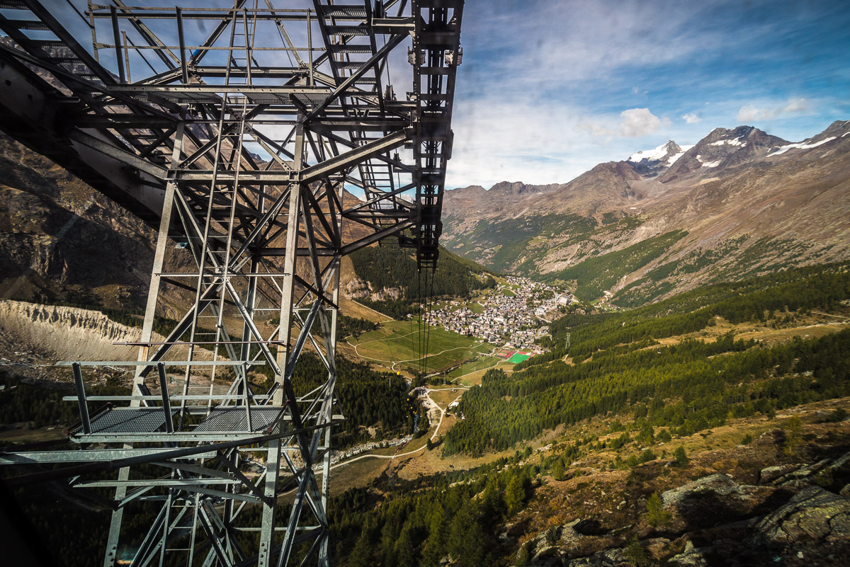 Photoshoot for Arc'teryx's Lithographica magazine, on the cablecar system in Saas Fee, Switzerland.