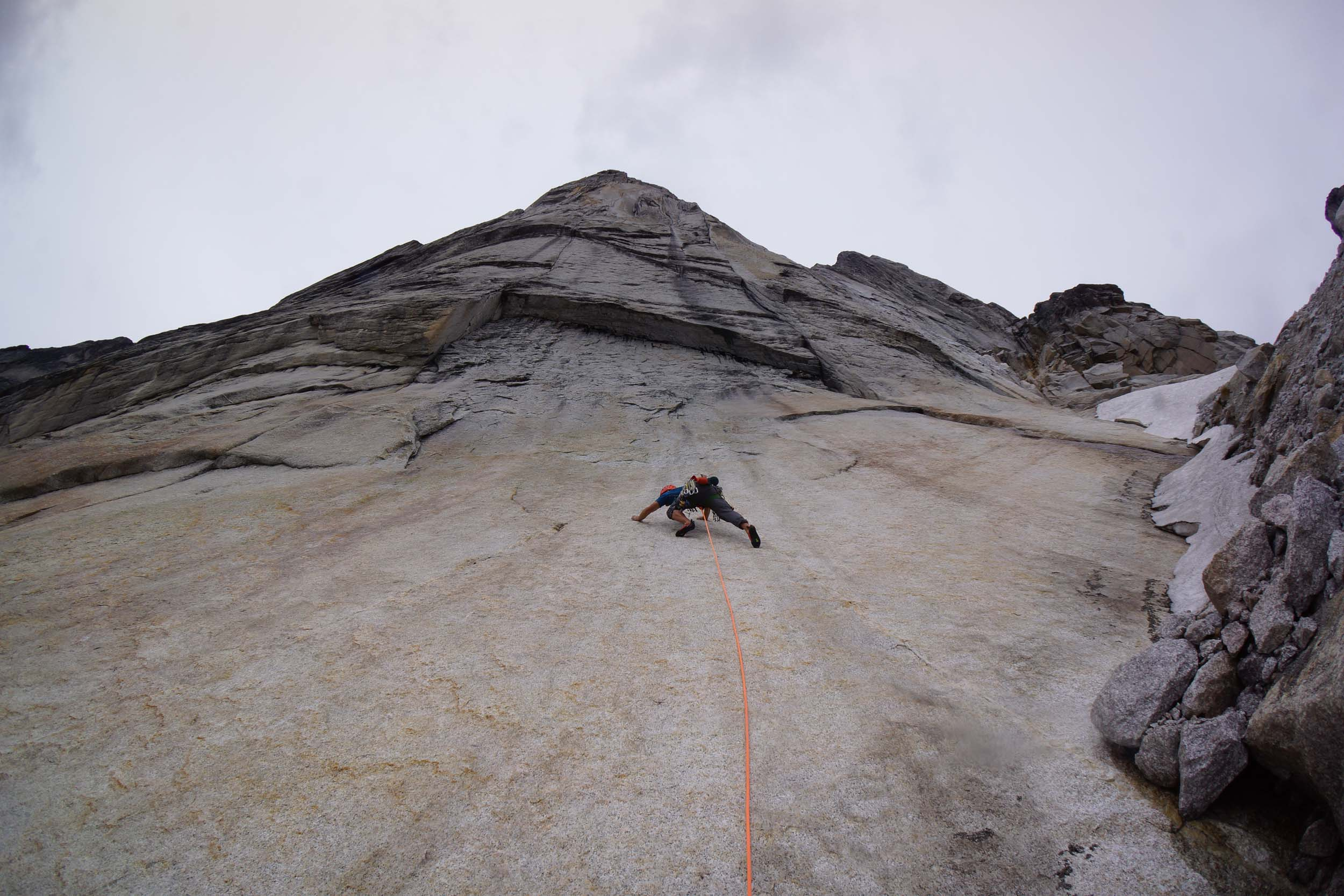 My first pitch in the Bugaboo's where I un-shamefully backed down because of the ground-fall potential. This pitch ended up being a 5.11- solo.