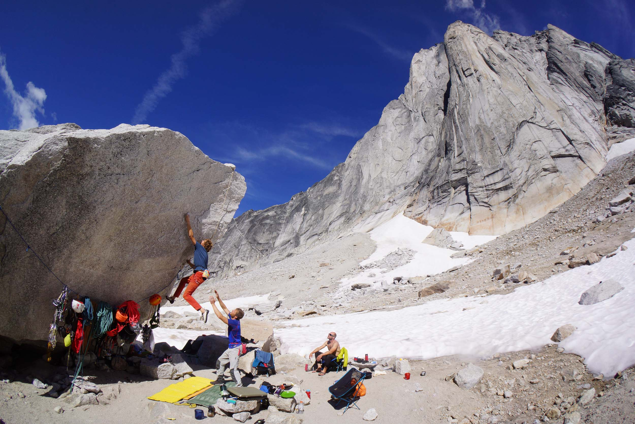 """A Perfect day in Basecamp. Will Stanhope climbs """"The Katie Brown Memorial Arete."""" V6"""