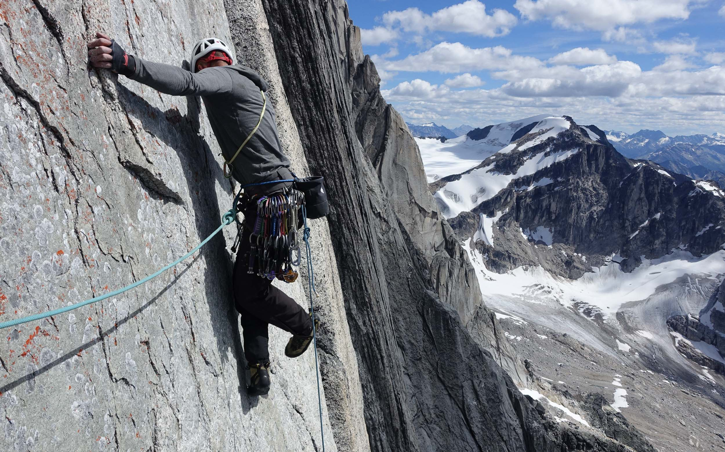 Maury working out a traverse pitch high on the Armageddon.