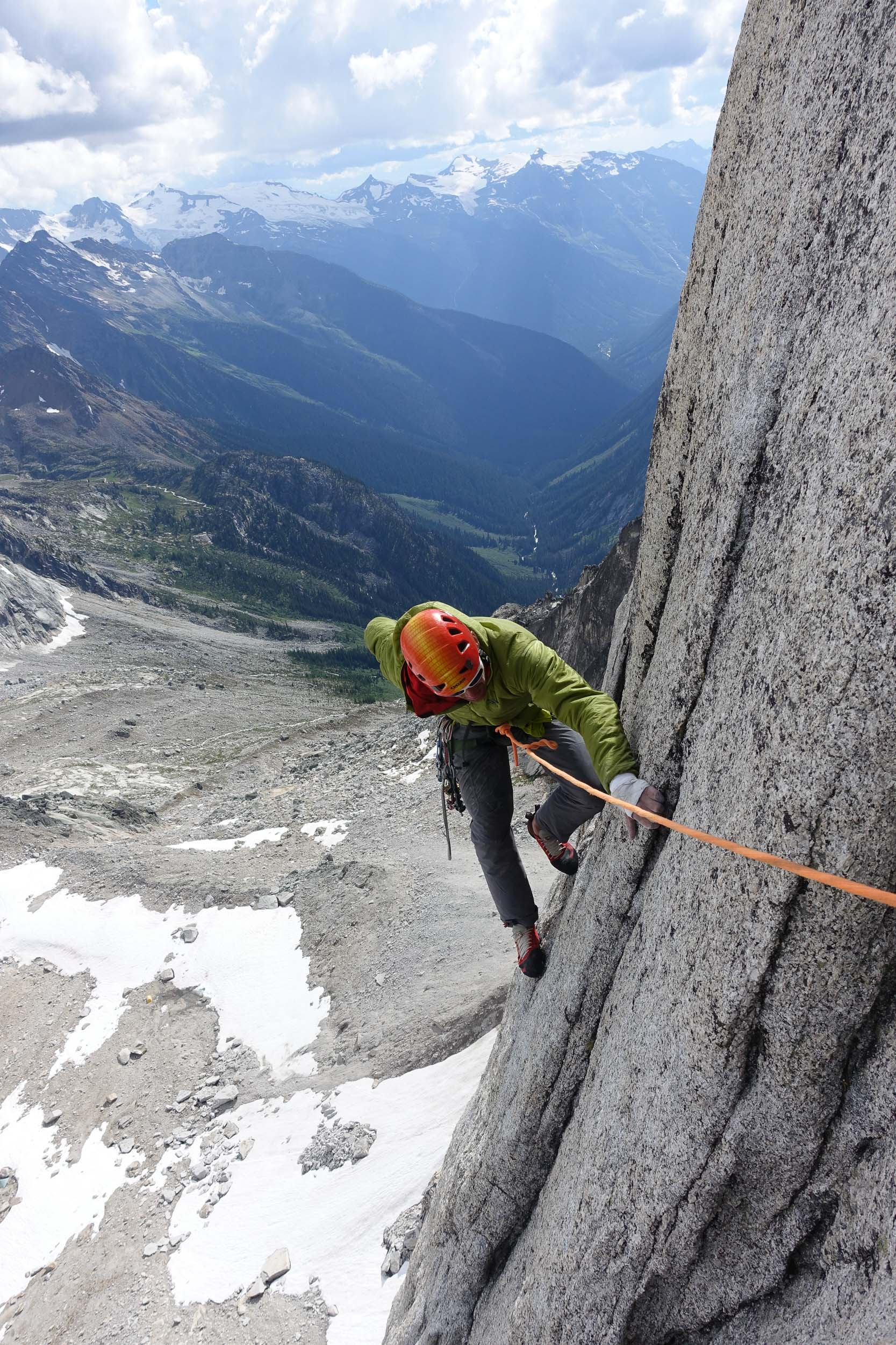 Jesse following one of the pitches on New Millennium. Photo Maury Birdwell