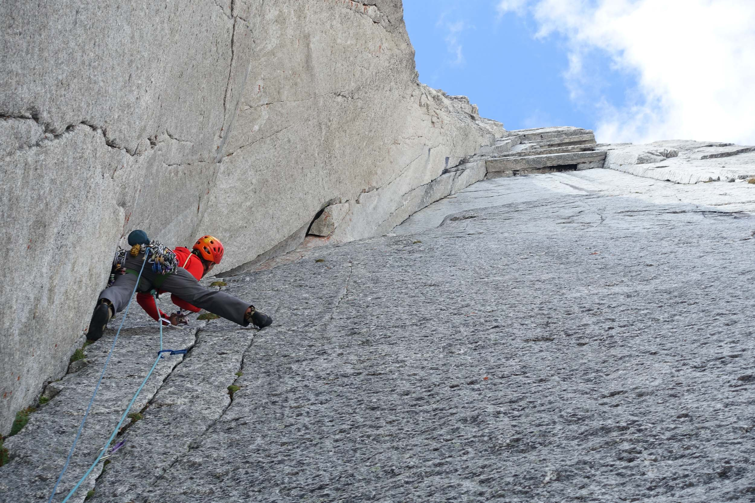 Jesse Huey on the first 5.11+ pitch of the Armageddon. Photo: Maury Birdwell